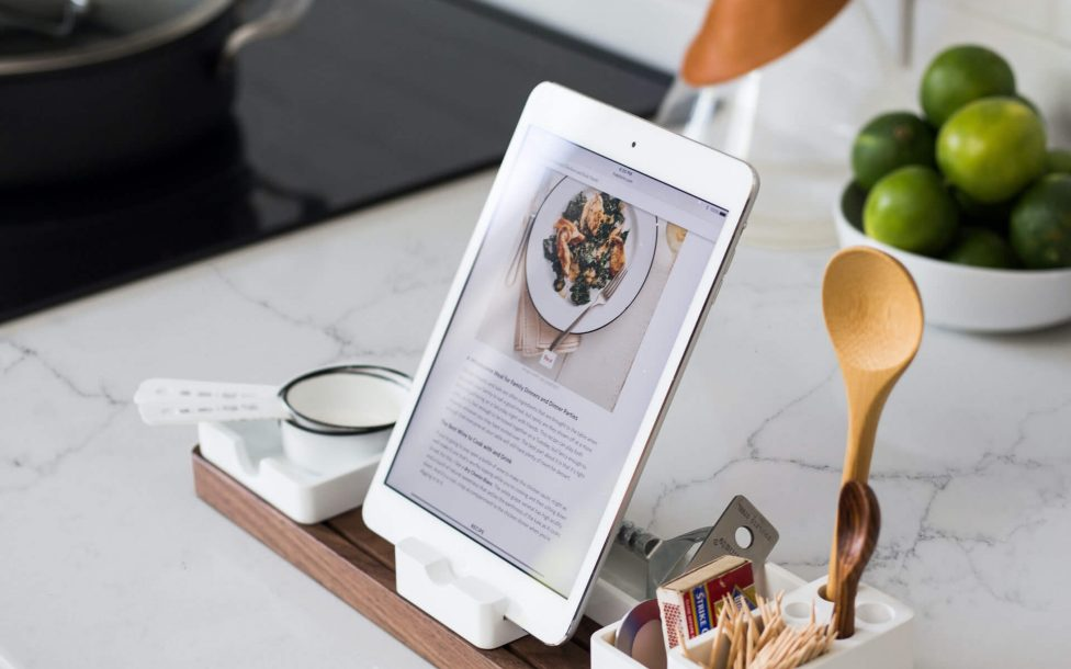 tablet on granit counter